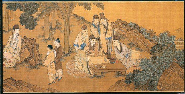 圖為明唐寅西園雅集圖卷局部。 圖/國立故宮博物院提供