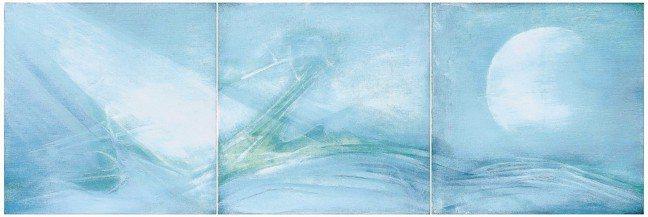 謝景蘭《日出》(三聯作)1972年作,油彩畫布,每屏40x40公分。 圖/蘇富比...