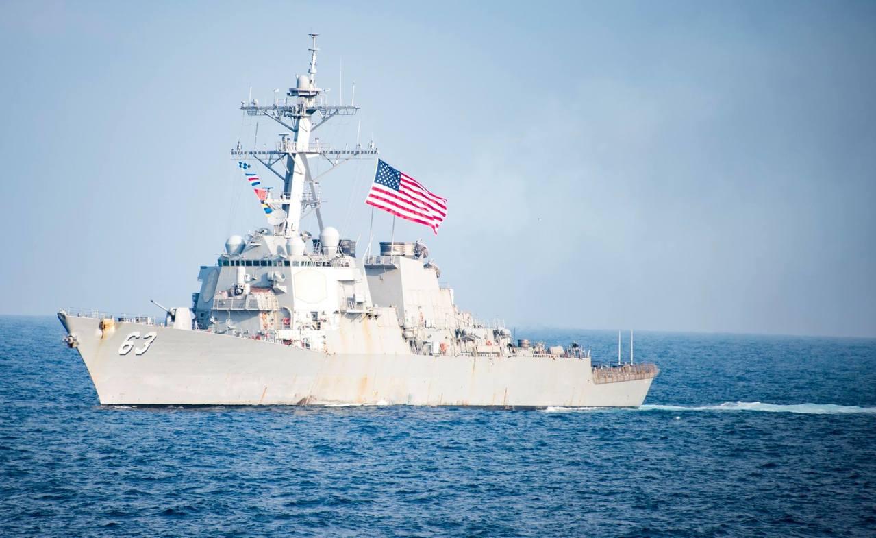 美軍威廉勞倫斯號(William P. Lawrence,DDG110)28日穿...