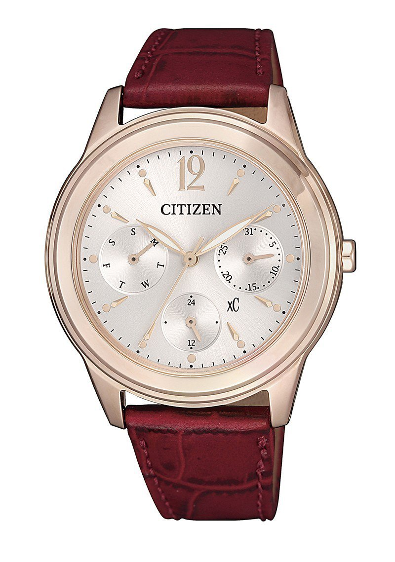 FD2062-03A不鏽鋼錶殼搭配酒紅色小牛皮錶帶,36.5mm的粉紅金色錶殼,...