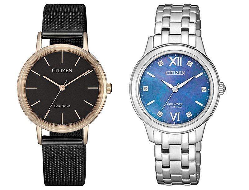 (左)EM0577-87E富含個性的奢華感,以復古的米蘭錶帶選用強烈對比的黑色及...