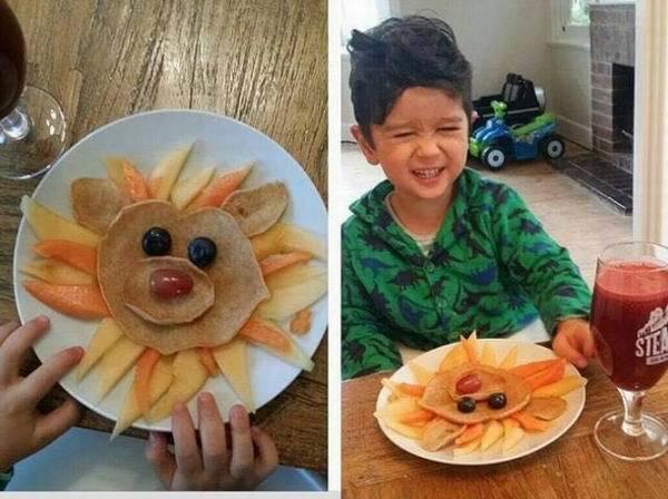看到獅子熊圖案的鬆餅,兒子Jacob欣喜若狂吃光光/圖片截自jacobs_foo...