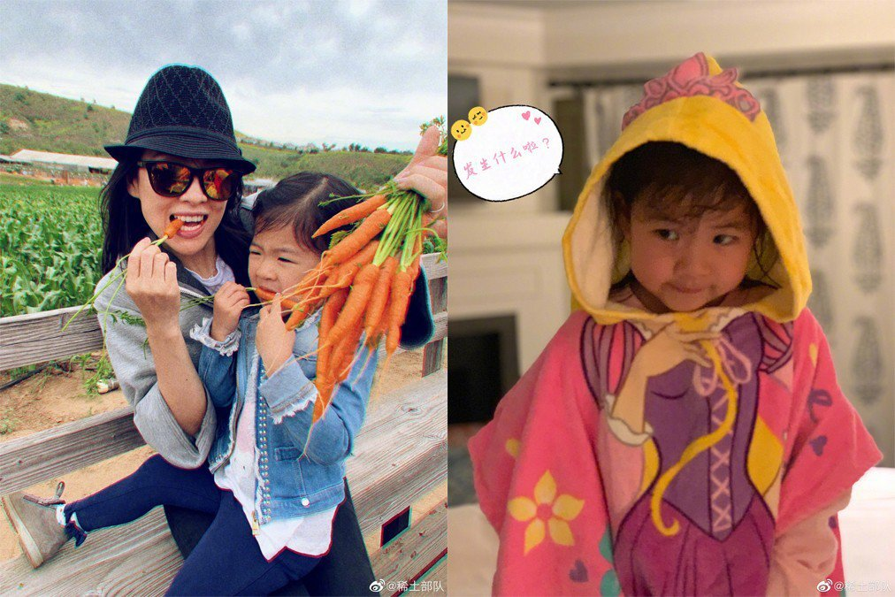 章子怡與女兒醒醒。圖/擷自微博