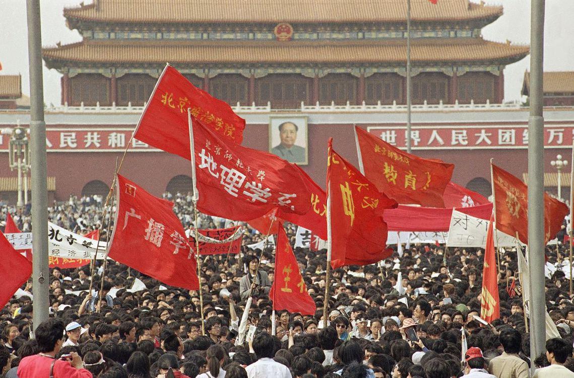 五四運動百年前夕,北大學生再度「被失蹤」。圖為1989年5月4日,北京。 圖/美...