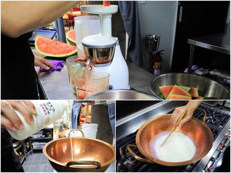 (圖/台灣旅行趣) ▲採用一顆完整的西瓜,榨成汁後只加純鮮乳、糖、麥芽葡萄糖下去...