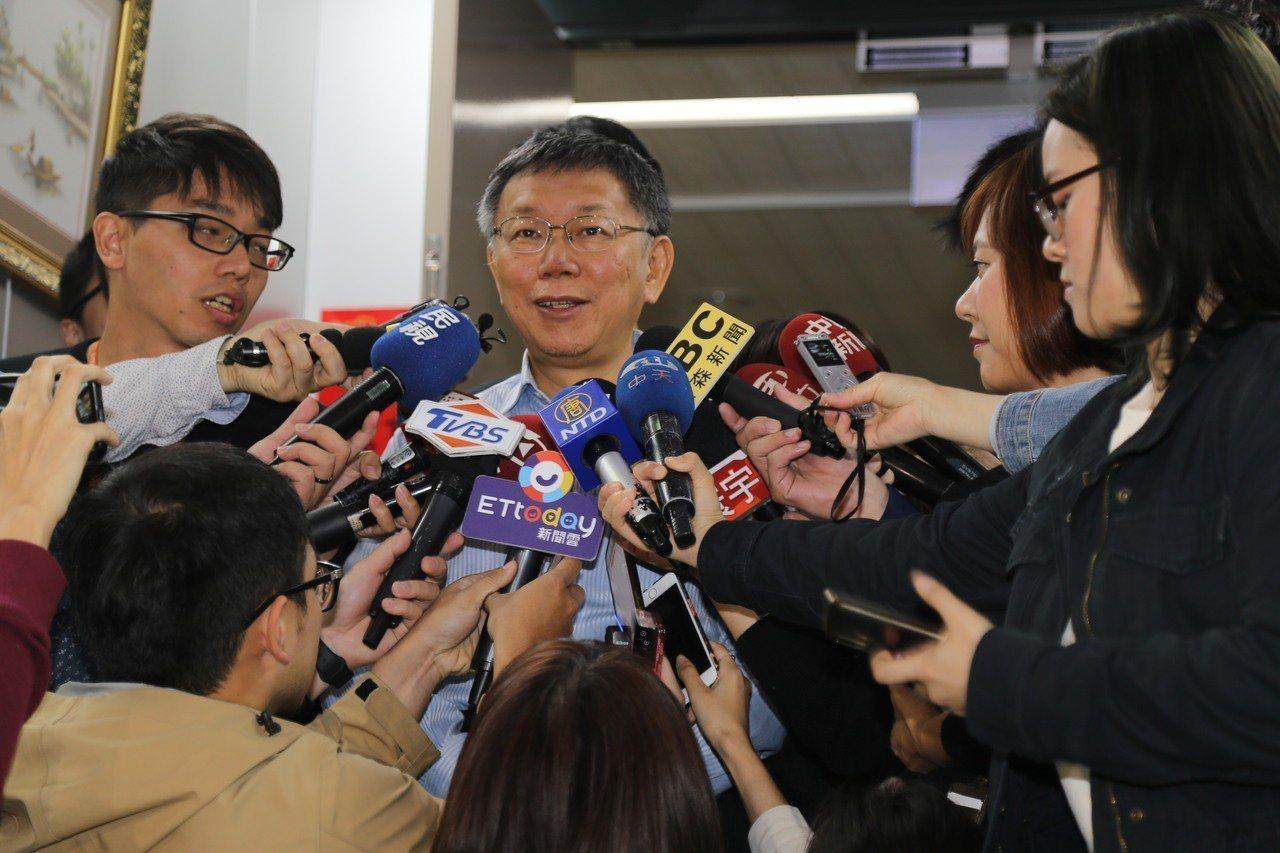 台北市長柯文哲上午在市府接受媒體聯訪。記者魏莨伊/攝影