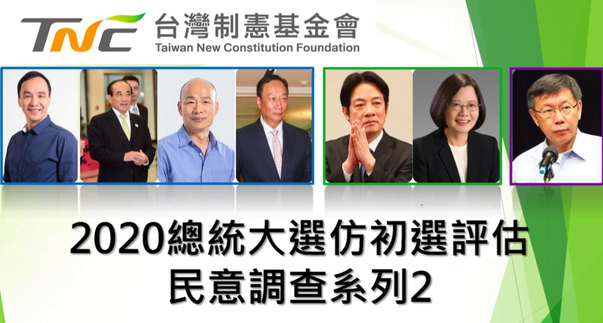 台灣制憲基金會今發布「2020總統大選仿初選評估民意調查」。圖/台灣制憲基金會提...