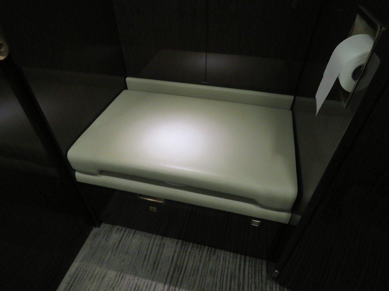 鴻海董事長郭台銘私人專機洗手間內部。記者張加/攝影