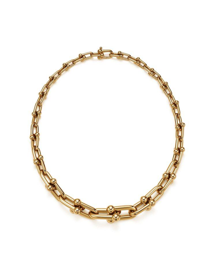 Tiffany HardWear鍊結設計18K金項鍊,約37萬1,000元。圖/...