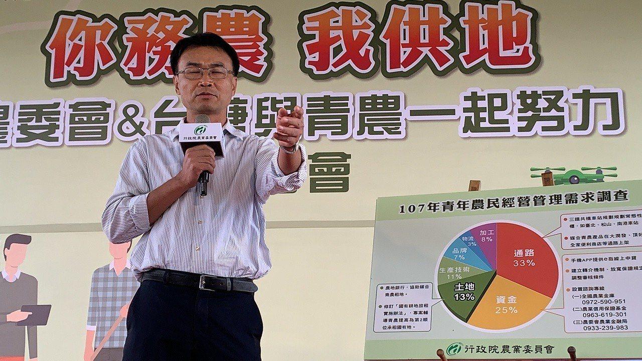 農委會主委陳吉仲今天在台南市的台糖官田有機農場,宣布將成立「農地租賃平台」,解決...