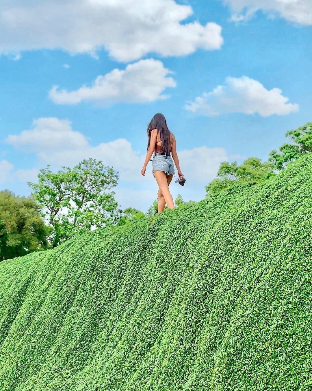 圖/赤腳走在綠色瀑布上,搭配藍天綠草,舒服的感受自然。網友m______1220...