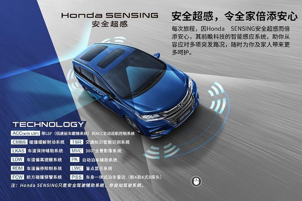 中國導入的Honda Odyssey Hybrid當然也有Honda SENSI...