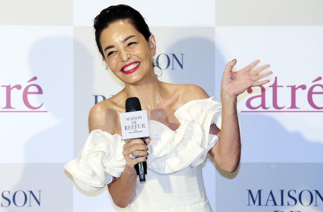 日本名模梨花為自家品牌來台與粉絲見面會。記者林俊良/攝影