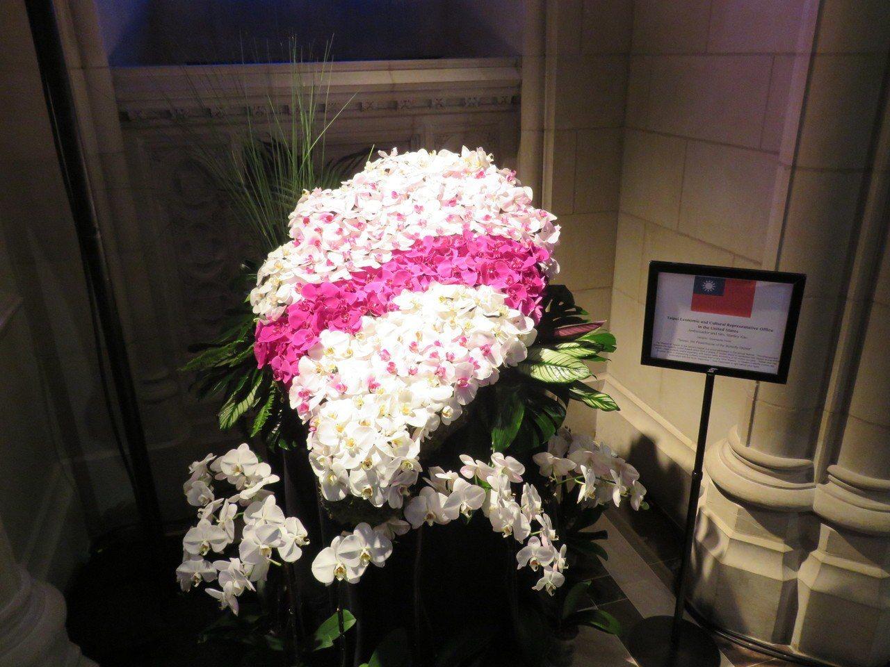 華府國家大教堂3日至4日舉辦花市活動,我駐美代表處以蝴蝶蘭排成台灣造型參加國際花...