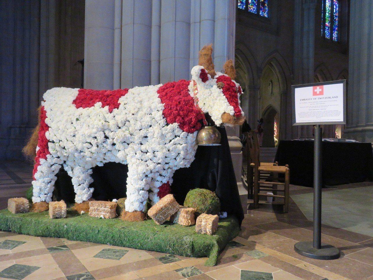 華府國家大教堂3日至4日舉辦花市活動,多國使館參加其中的國際花卉展。圖為瑞士參展...