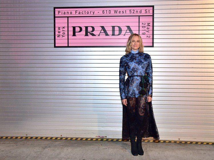 黛安克魯格現身PRADA 2020早春女裝秀。圖/PRADA提供