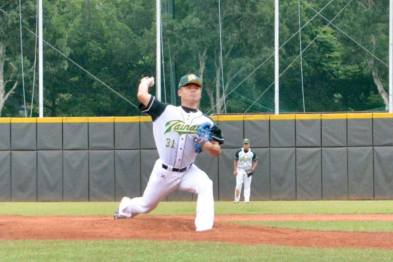 108年全國成棒甲組春季聯賽,台南市先發投手林麒豪。記者蘇志畬/攝影
