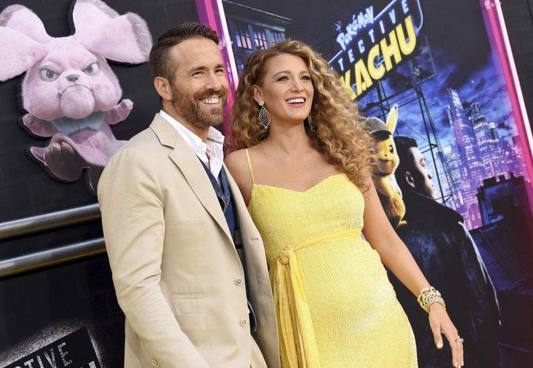萊恩雷諾斯與妻子布蕾克萊芙莉2日連袂出席《名偵探皮卡丘》在紐約的首映典禮。美聯社