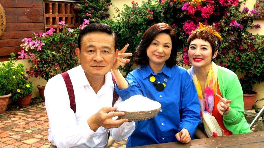 陳慕義(左起)楊貴媚、劉曉憶合作「月村歡迎你」。圖╱三立提供