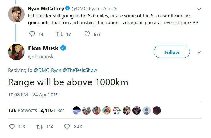Elon Musk表示:「Tesla Roadster續航力能超過1000公里」...