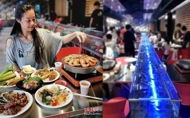 圖/台南「泰式料理」吃到飽,擁有全台最長LED水道蝦水道。網友台南美食地圖授權,...