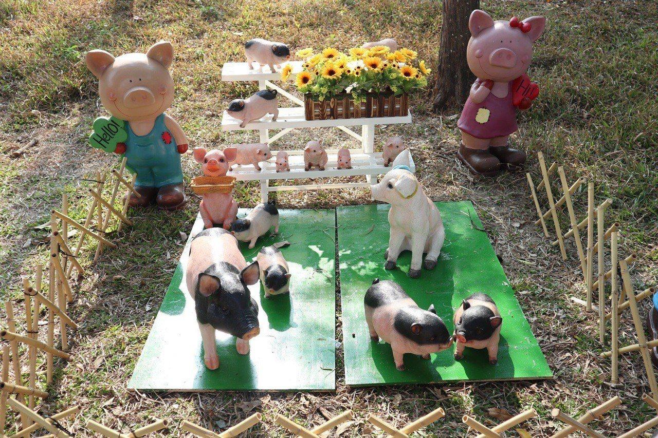 員林公園今年農曆過年後設置豬裝飾。圖/員林市公所提供