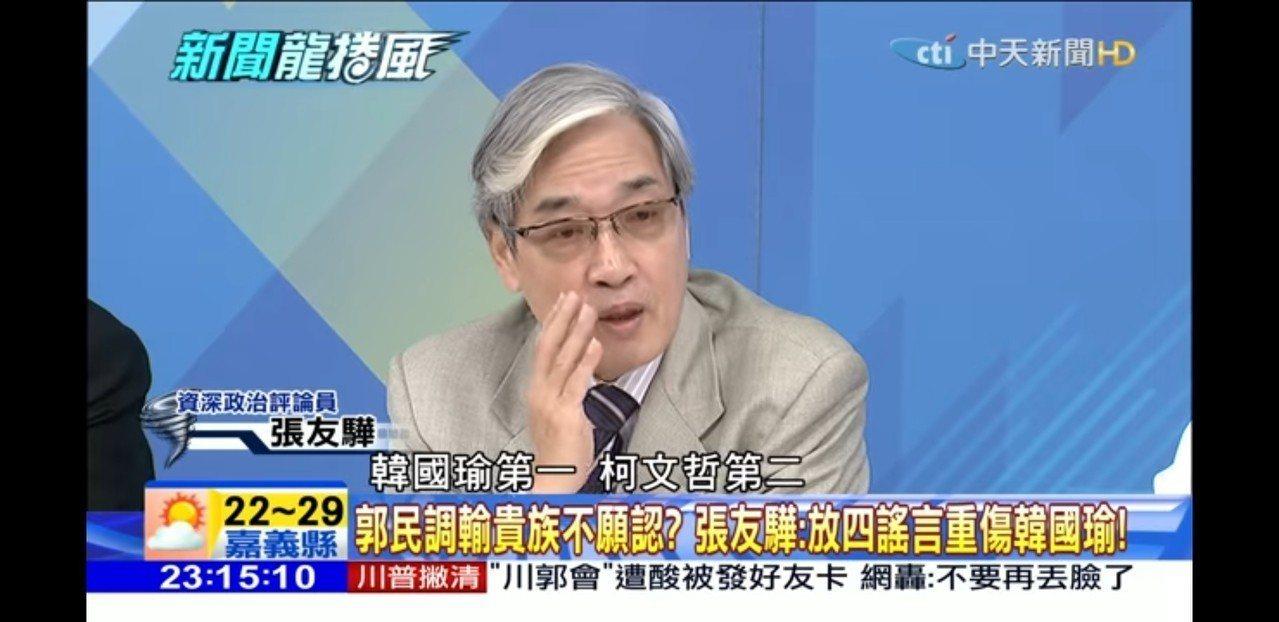名嘴張友驊參加政論節目「新聞龍捲風」。圖/取自網路