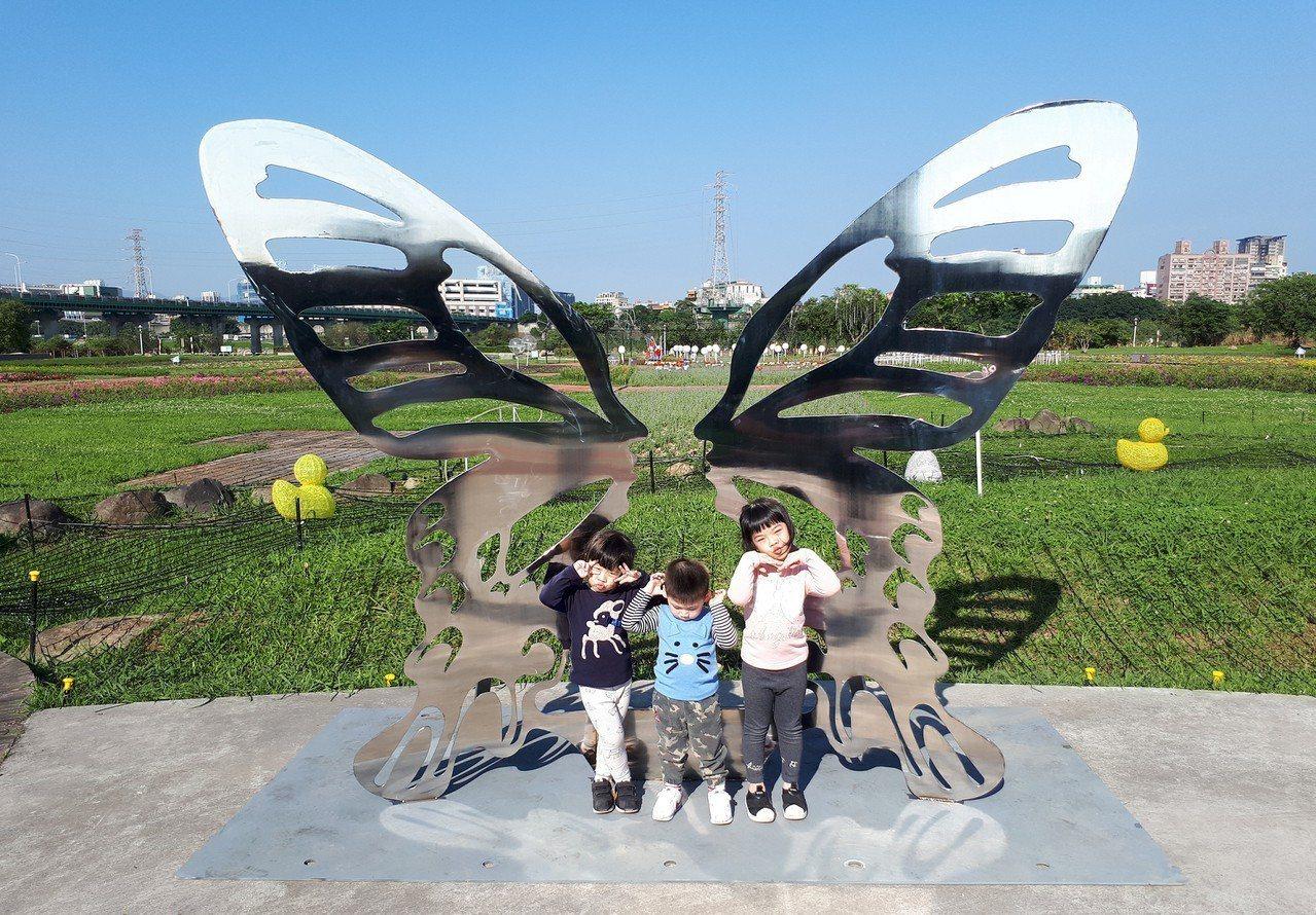 板橋江翠蝴蝶地景公園的設計有日間及夜間2部分,白天以台灣寬尾鳳蝶為設計理念,希望...