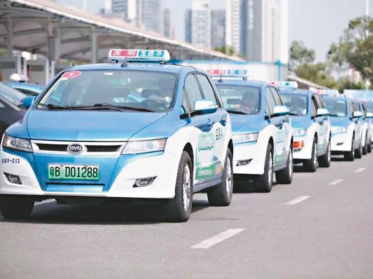 深圳出租車計程車已全數換上純電動車。圖為比亞迪的電動車。 (取自網路)