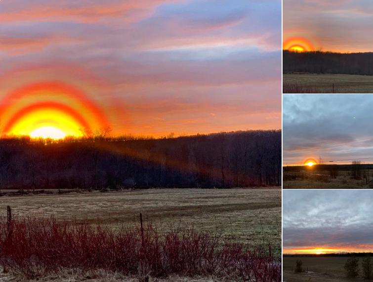 一名加拿大女子拍到神秘的夕陽景色,引發網友們討論,但連氣象專家都說不出原因。圖擷...