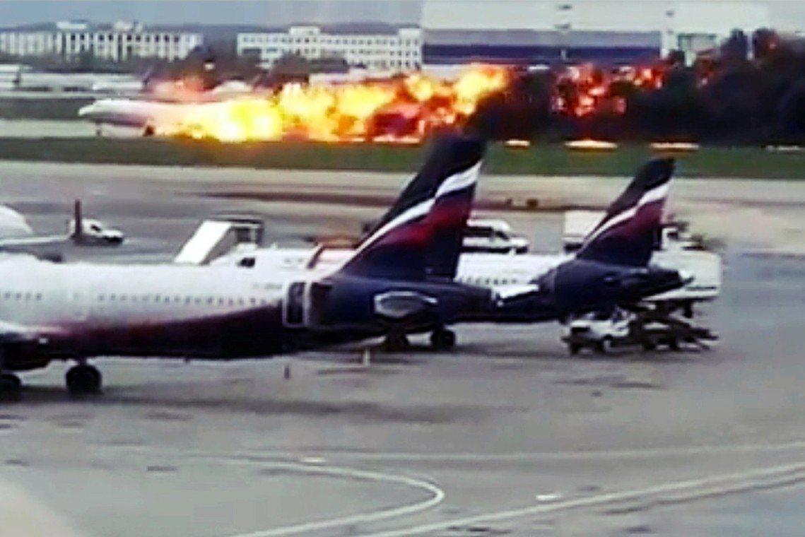 俄國國家航空公司「俄羅斯航空」(Aeroflot,SU)的一架蘇愷超級噴射機10...
