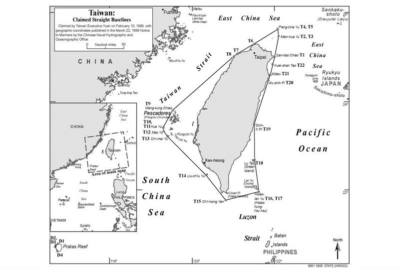 示意圖3:台灣領海範圍。 圖/作者提供;出處/美國國務院