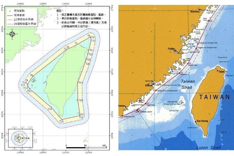 示意圖1:台灣領海範圍;示意圖2:中國領海範圍。 圖/作者提供;出處/內政部地政司、美國國務院