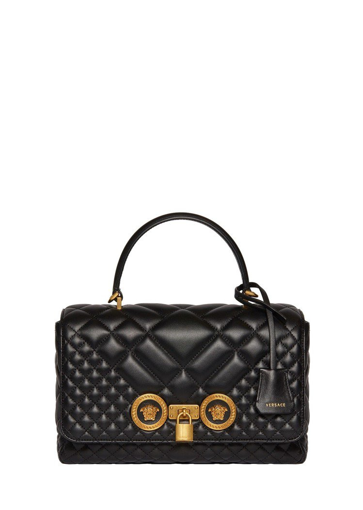 Versace Icon Quilted黑色格紋提包,75,500元。圖/Ver...