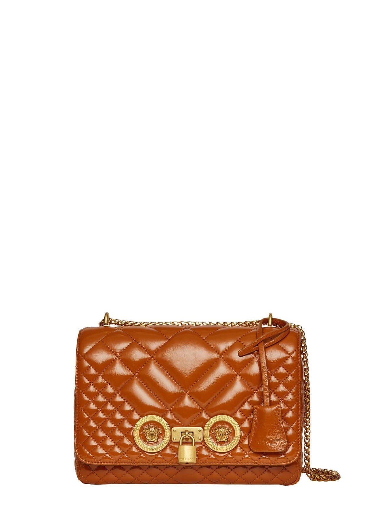 Versace Icon Quilted古銅色格紋鍊帶包,75,500元。圖/V...
