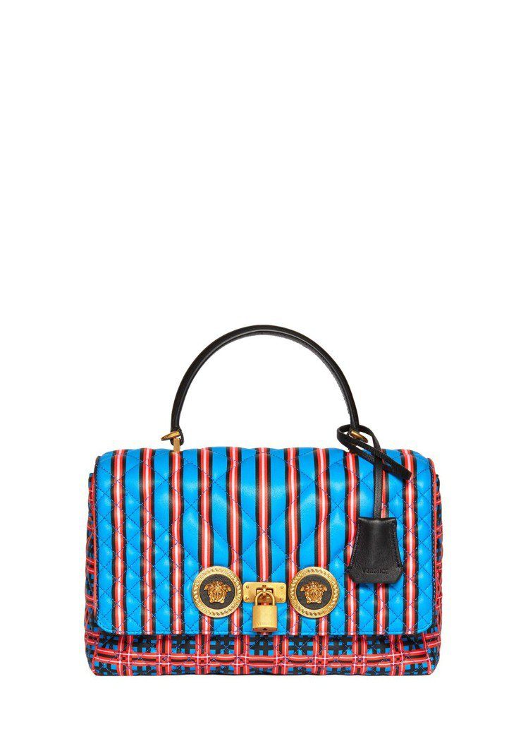 Versace Icon Quilted藍紅印花格紋提包,83,000元。圖/V...