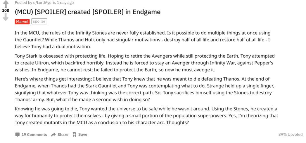 「Reddit」網友推測「鋼鐵人」東尼史塔克最後犧牲時有號召一群擁有超能力的人類...