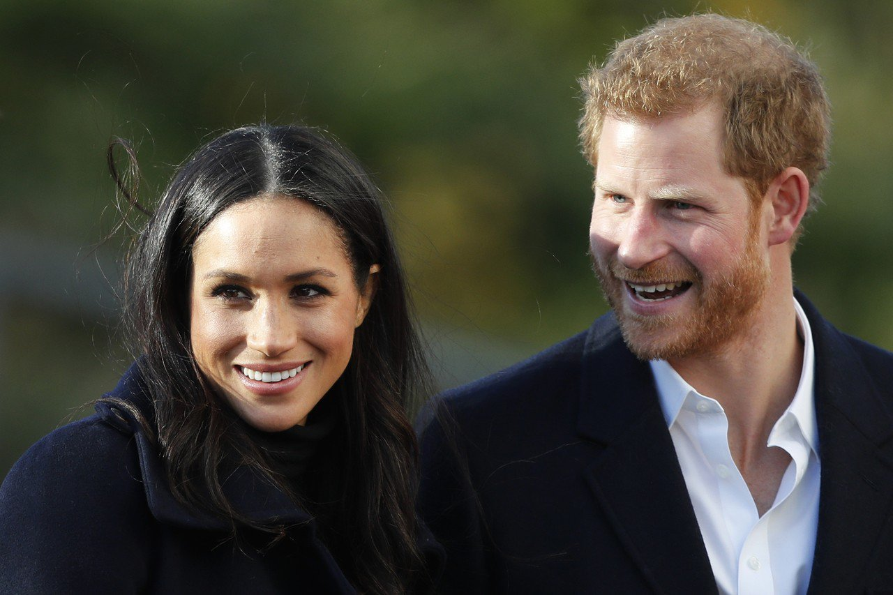 英國哈利王子與夫人梅根馬可。美聯社