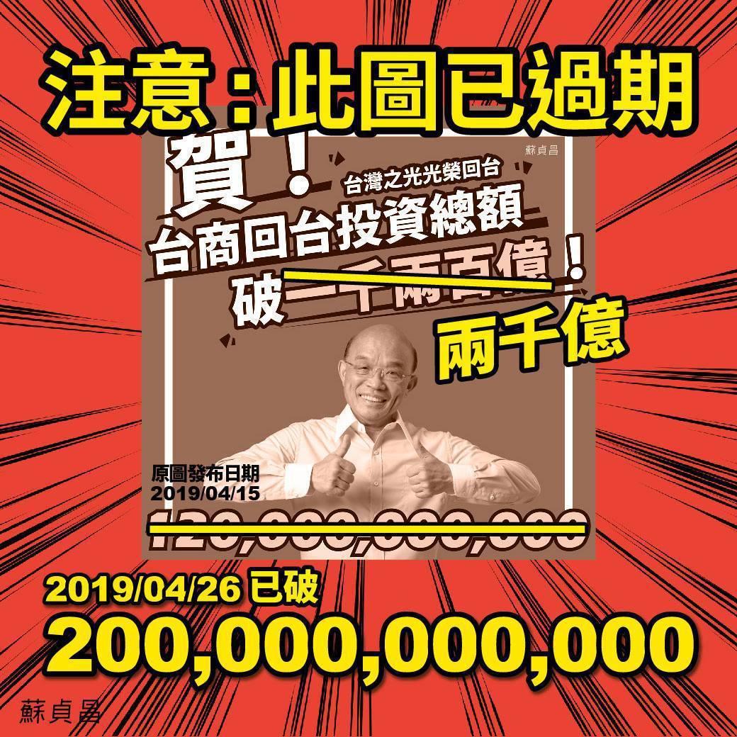 台商回台投資金額屢有捷報,蘇揆4月底也在臉書宣布喜訊。擷取自蘇貞昌臉書
