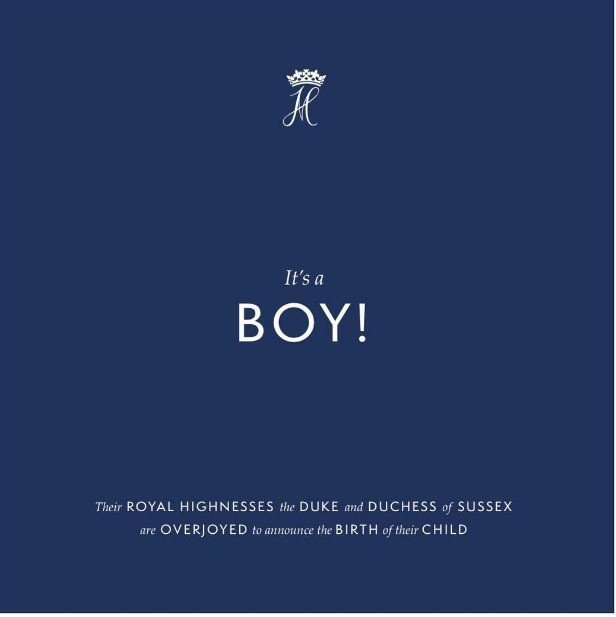 哈利王子和梅根的共同IG帳號發布貼文,表示順利產下一名小王子。 圖/摘自suss...