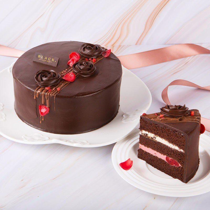 媽咪灑花櫻桃蛋糕,售價990元(6吋)。圖/BLACK As Chocolate...