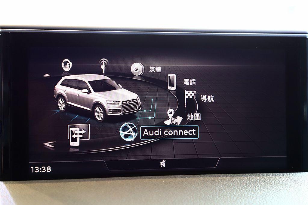 Audi Q7率先搭載Audi Connect車聯網智能服務功能,駕駛可直接於車...