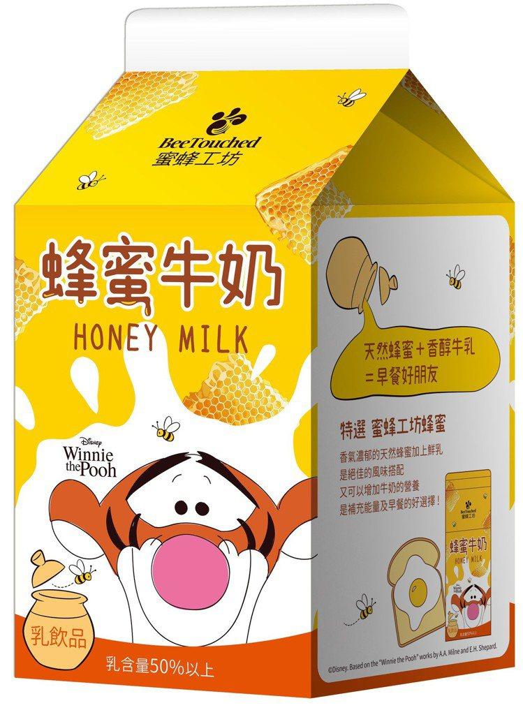 7-ELEVEN與蜜蜂工坊聯名的「蜜蜂工坊蜂蜜牛奶」跳跳虎款,售價35元。圖/7...