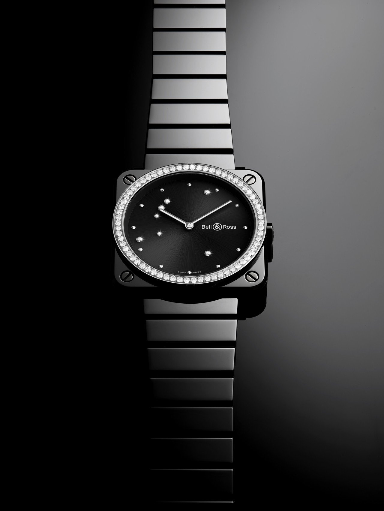 柏萊士Diamond Eagle系列女表黑色亮面陶瓷錶圈鑲鑽款,搭配陶瓷表帶,2...