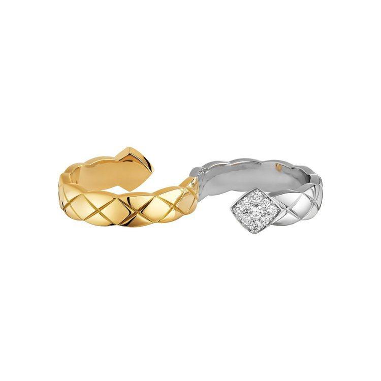 COCO CRUSH指間戒,18K白金與黃金鑲嵌18顆明亮式切割鑽石,21萬元。...
