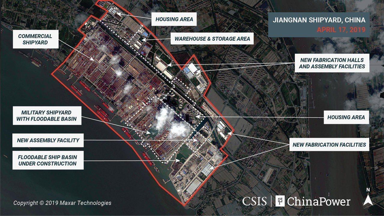 CSIS四月影像顯示,附近有大小相當於幾個足球場的造船廠,工程似乎在「可浸船渠」...