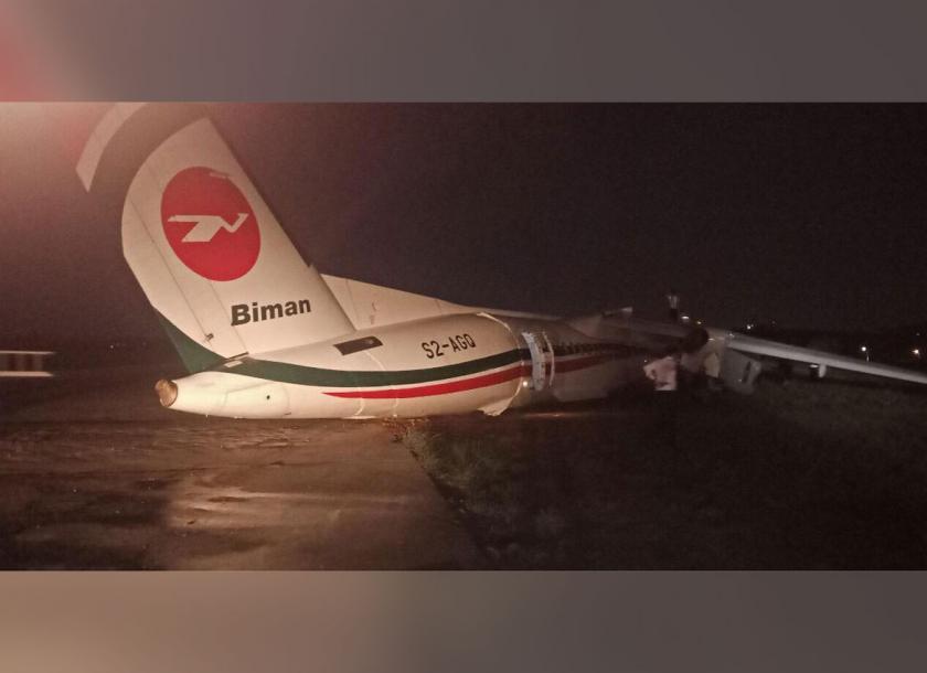孟加拉國航空公司一架客機8日在緬甸仰光機場滑出跑道,飛機斷成三截。 圖/擷自My...