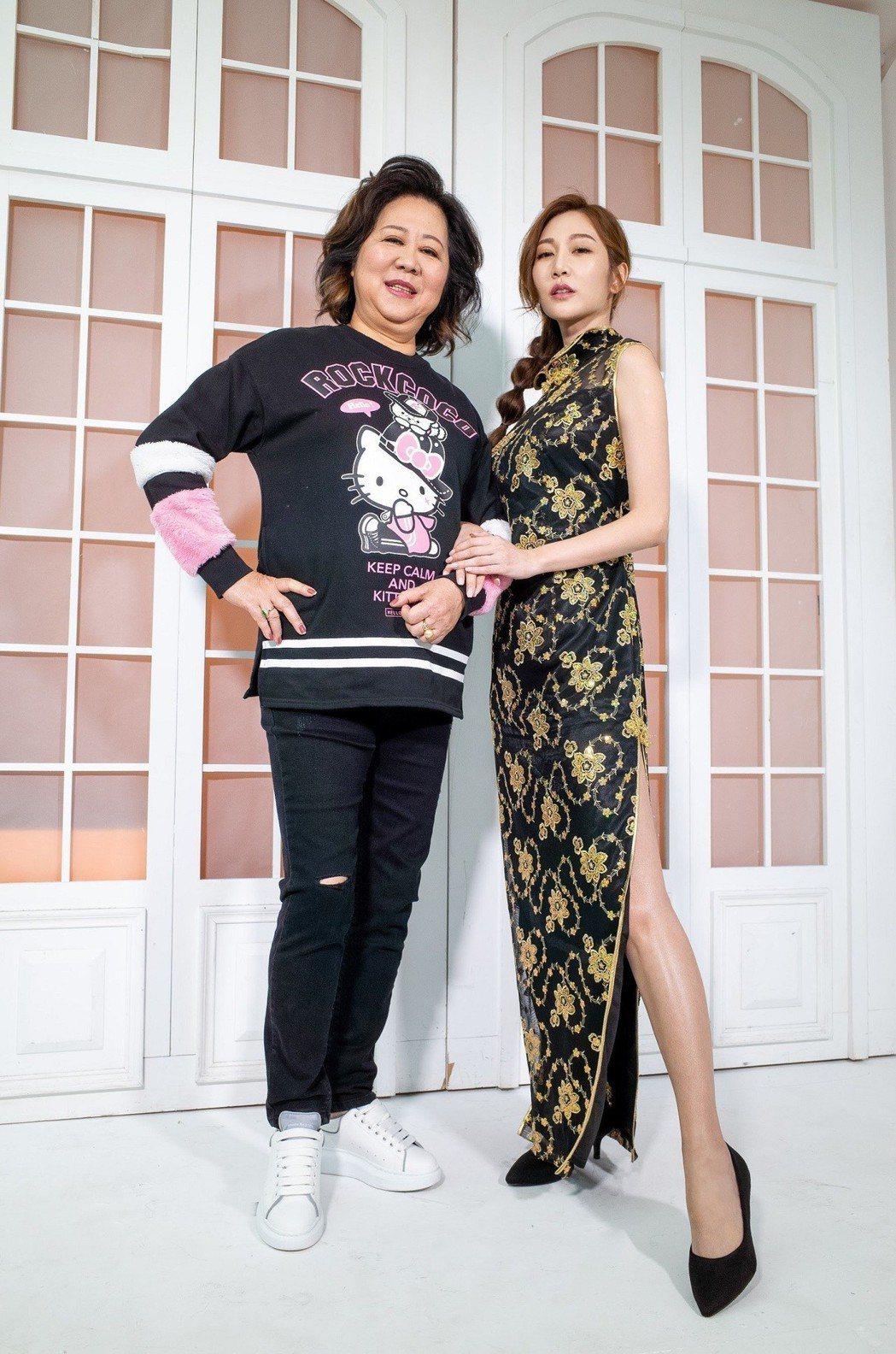 曾莞婷與媽媽挑戰iM短影【#變裝母女】活動話題。 iM短影/提供