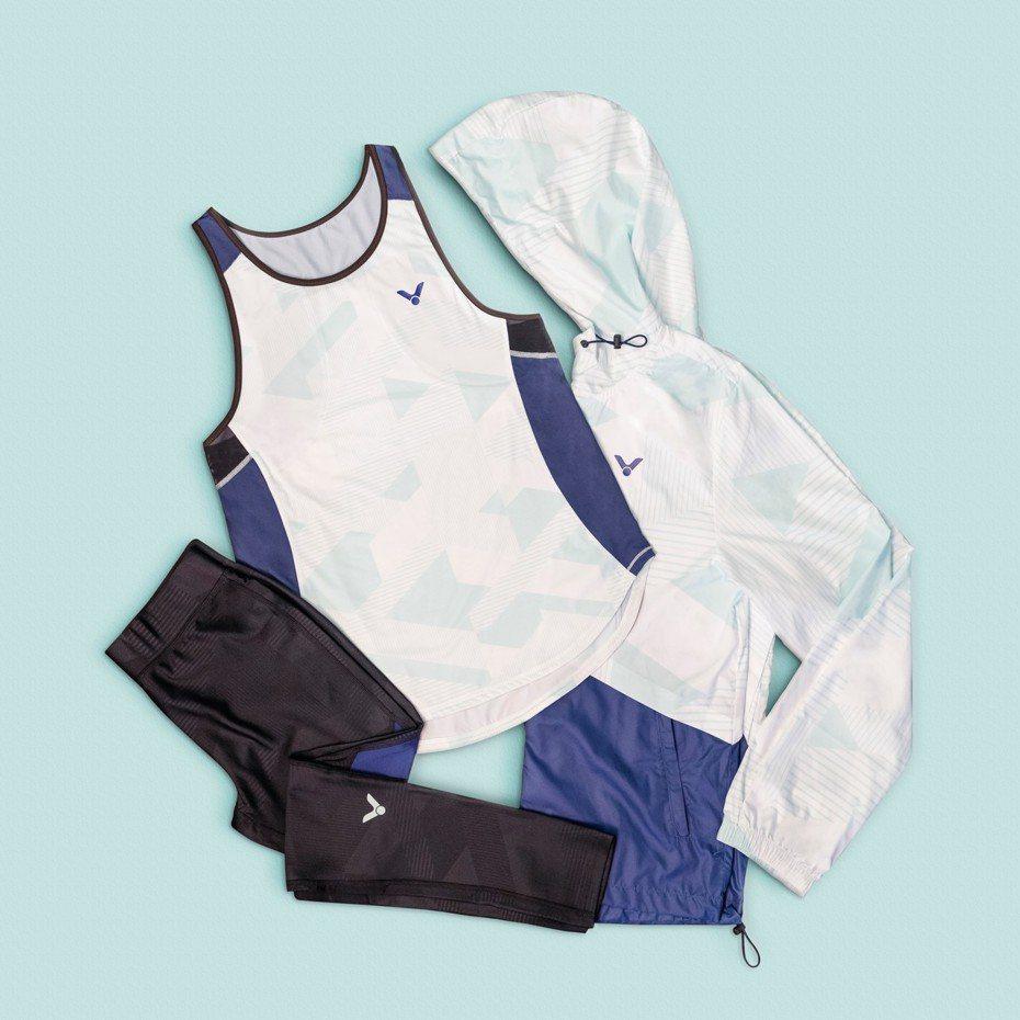 Crown Collection 2019 風衣外套、緊身褲及訓練背心。圖/VICTOR提供