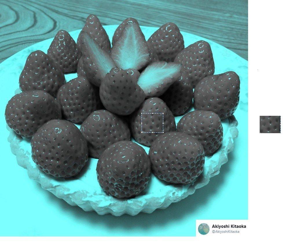 心理學家蔡宇哲引用一張草莓圖,解釋顏色恆常性。圖/翻攝臉書「哇噻心理學」